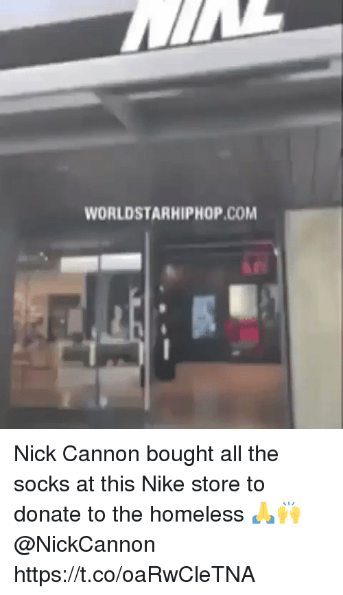worldstarhiphop: WORLDSTARHIPHOP.COM Nick Cannon bought all the socks at this Nike store to donate to the homeless 🙏🙌 @NickCannon https://t.co/oaRwCleTNA