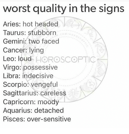 Aquarius, Aries, and Cancer: worst quality in the signs  Aries: hot headed  Taurus: stubborn  Gemini two faced  Cancer: lying  Leo: loud HOROSCOPTIC  Virgo: possessive  Libra: indecisive  Scorpio vengeful  Sagittarius: careless  Capricorn: moody  Aquarius: detached  Pisces: over-sensitive