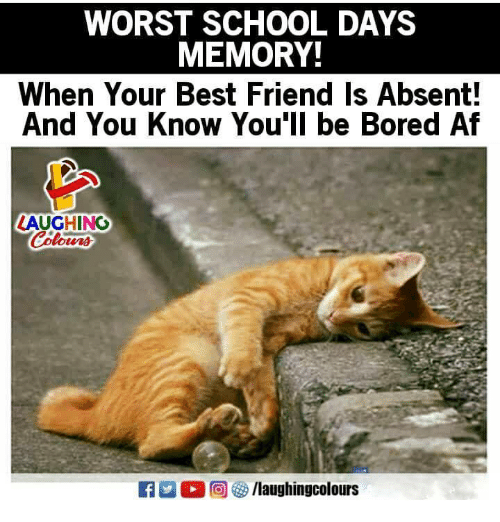 Af, Best Friend, and Bored: WORST SCHOOL DAYS  MEMORY!  When Your Best Friend Is Absent!  And You Know You'll be Bored Af  LAUGHING