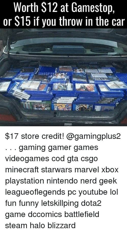 s15: Worth $12 at Gamestop,  or S15 if you throw in the car $17 store credit! @gamingplus2 . . . gaming gamer games videogames cod gta csgo minecraft starwars marvel xbox playstation nintendo nerd geek leagueoflegends pc youtube lol fun funny letskillping dota2 game dccomics battlefield steam halo blizzard