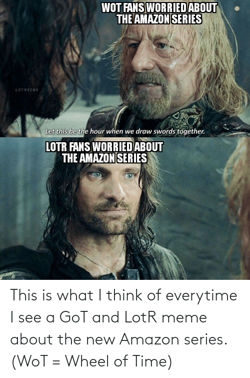lotr meme: WOT FANS WORRIEDABOUT  THE AMAZON SERIES  LOTRSCNS  Let this be the hour when we draw swords together.  LOTR FANS WORRIED ABOUT  THE AMAZON SERIES This is what I think of everytime I see a GoT and LotR meme about the new Amazon series. (WoT = Wheel of Time)
