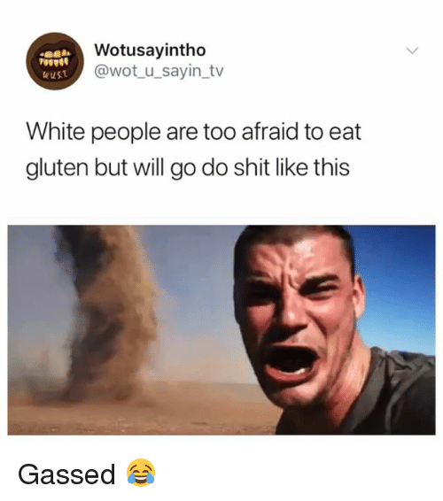 Shit, White People, and Gluten: Wotusayintho  @wot_u_sayin_tv  eust  White people are too afraid to eat  gluten but will go do shit like this Gassed 😂