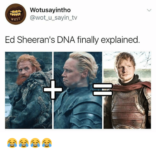 Girl Memes, Wot, and Dna: Wotusayintho  @wot u sayin_tv  wusT  Ed Sheeran's DNA finally explained 😂😂😂😂