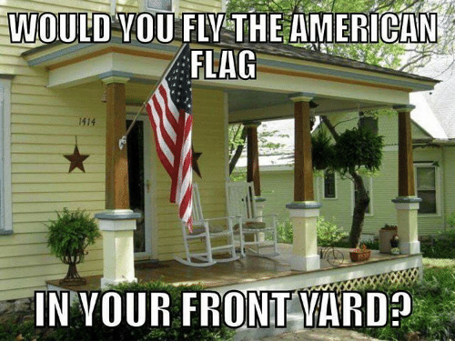 Memes, 🤖, and Yard: WOULD OU FLY THE AMERICAN  FLAG  IN YOUR FRONT YARD
