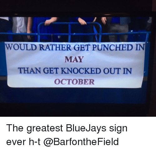 Memes, Bluejays, and 🤖: WOULD RATHER GET PUNCHED IN  MAY  THAN GET KNOCKED OUT IN  OCTOBER The greatest BlueJays sign ever h-t @BarfontheField