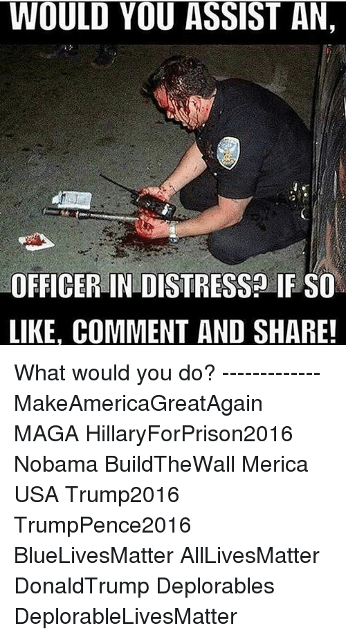Hillaryforprison2016: WOULD YOU ASSIST AN,  OFFICER IN DISTRESS IF SO  LIKE. COMMENT AND SHARE! What would you do? ------------- MakeAmericaGreatAgain MAGA HillaryForPrison2016 Nobama BuildTheWall Merica USA Trump2016 TrumpPence2016 BlueLivesMatter AllLivesMatter DonaldTrump Deplorables DeplorableLivesMatter