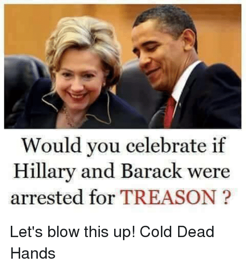 Cold: Would you celebrate if  Hillary and Barack were  arrested for TREASON Let's blow this up! Cold Dead Hands