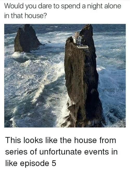 episode-5: Would you dare to spend a night alone  in that house? This looks like the house from series of unfortunate events in like episode 5