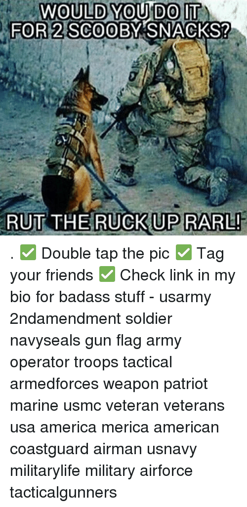 America, Friends, and Memes: WOULD YOU DO IT  2 SCOOE  FOR  FOR 2 SCOOBY SNACKS?  RUT THE RUCKUP RARL . ✅ Double tap the pic ✅ Tag your friends ✅ Check link in my bio for badass stuff - usarmy 2ndamendment soldier navyseals gun flag army operator troops tactical armedforces weapon patriot marine usmc veteran veterans usa america merica american coastguard airman usnavy militarylife military airforce tacticalgunners