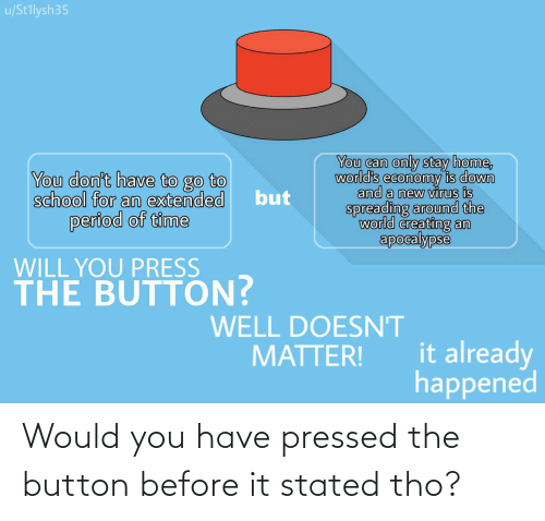 Pressed: Would you have pressed the button before it stated tho?