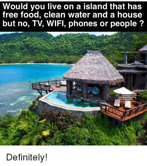 Definitely, Food, and Memes: Would you live on a island that has  free food, clean water and a house  but no, TV, WIFI, phones or people ? Definitely!