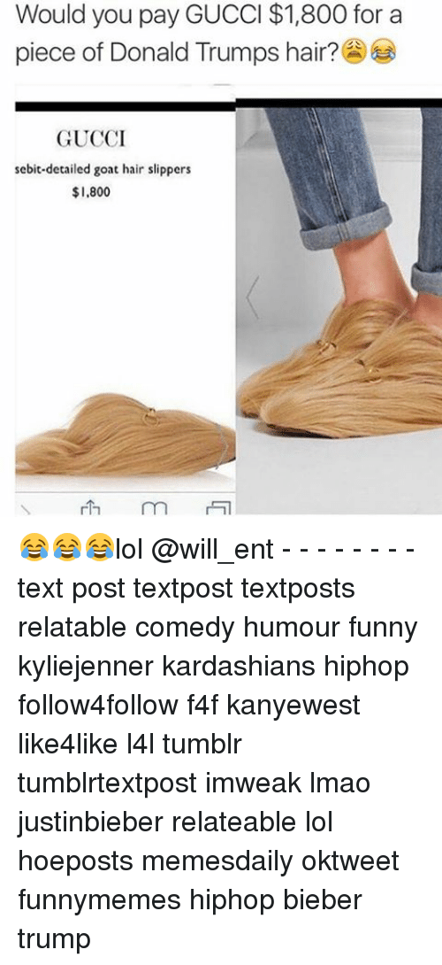Gucci, Memes, and Goat: Would you pay GUCCI $1,800 for a  piece of Donald Trumps hair?  GUCCI  sebit detailed goat hair slippers  $1.800  rh 😂😂😂lol @will_ent - - - - - - - - text post textpost textposts relatable comedy humour funny kyliejenner kardashians hiphop follow4follow f4f kanyewest like4like l4l tumblr tumblrtextpost imweak lmao justinbieber relateable lol hoeposts memesdaily oktweet funnymemes hiphop bieber trump