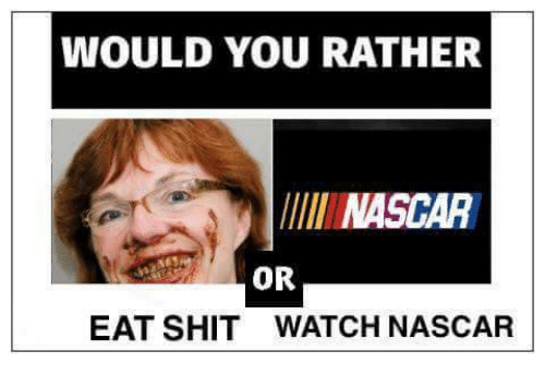 Eat Shit: WOULD YOU RATHER  NASCAR  OR  EAT SHIT  WATCH NASCAR