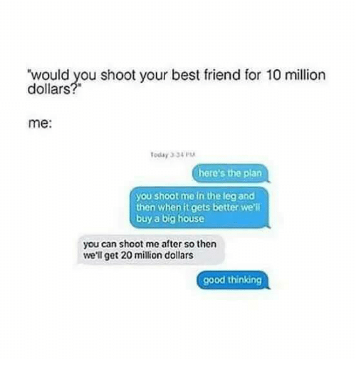 Best Friend, Funny, and Best: would you shoot your best friend for 10 million  dollars?  me:  oday 334  here's the plan  you shoot me in the leg and  then when it gets better we'll  buy a big house  you can shoot me after so then  we'll get 20 million dollars  good thinking