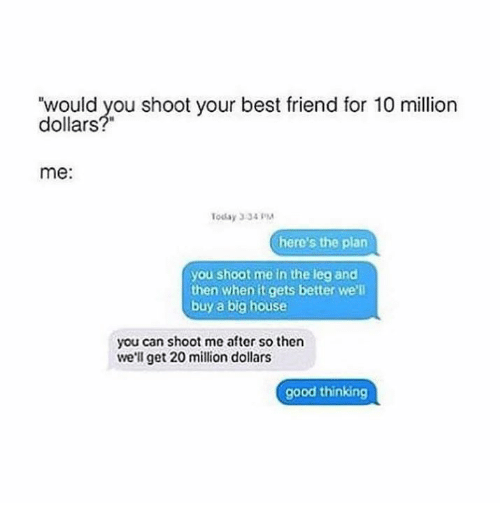 "Best Friend, Memes, and Leggings: ""would you shoot your best friend for 10 million  dollars  me  Today 334  here's the plan  you shoot me in the leg and  then when it gets better we'll  buy a big house  you can shoot me after so then  we'll get 20 million dollars  good thinking"
