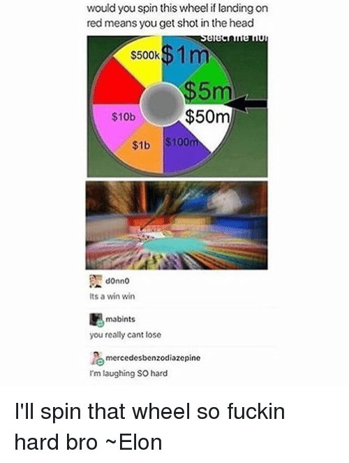 Anaconda, Head, and Memes: would you spin this wheel if landing on  red means you get shot in the head  1 m  $500k  5m  $10b  $50m  $1b $100  donno  Its a win win  mabints  you really cant lose  mercedesbenzodiazcpinc  I'm laughing so hard I'll spin that wheel so fuckin hard bro ~Elon