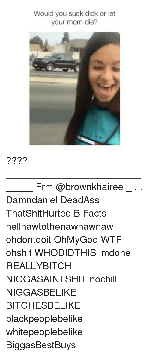 You Sucks: Would you suck dick or let  your mom die ???? ______________________________ Frm @brownkhairee _ . . Damndaniel DeadAss ThatShitHurted B Facts hellnawtothenawnawnaw ohdontdoit OhMyGod WTF ohshit WHODIDTHIS imdone REALLYBITCH NIGGASAINTSHIT nochill NIGGASBELIKE BITCHESBELIKE blackpeoplebelike whitepeoplebelike BiggasBestBuys⠀⠀⠀