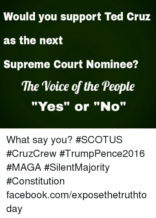 """Memes, Supreme, and Ted: Would you support Ted cruz  as the next  Supreme Court Nominee?  The Voice of the People  """"Yes"""" or """"No"""" What say you? #SCOTUS #CruzCrew #TrumpPence2016 #MAGA #SilentMajority #Constitution facebook.com/exposethetruthtoday"""