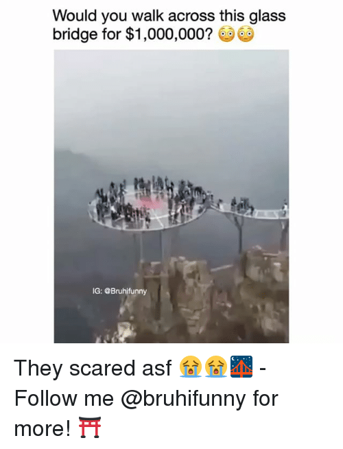 Memes, 🤖, and Glass: Would you walk across this glass  bridge for $1,000,000?  IG: OBruhifunny They scared asf 😭😭🌉 - Follow me @bruhifunny for more! ⛩