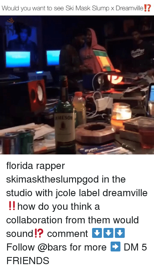 In The Studio: Would you want to see Ski Mask Slump x Dreamville!?  04 florida rapper skimasktheslumpgod in the studio with jcole label dreamville‼️how do you think a collaboration from them would sound⁉️ comment ⬇️⬇️⬇️ Follow @bars for more ➡️ DM 5 FRIENDS