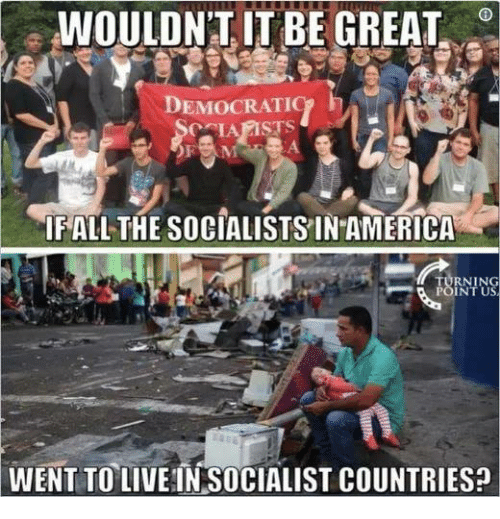 America, Fall, and Memes: WOULDNI IT BE GREAT  DEMOCRATIC  FALL THE SOCIALISTSIN AMERICA  RNIN  INT U  WENT TO LIVE IN SOCIALIST COUNTRIES: