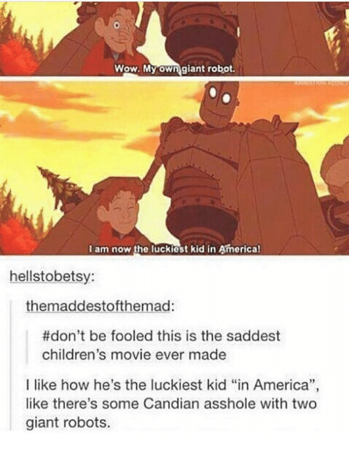 "America, Memes, and Wow: Wow. My own giant robot.  I am now the luckiest kid in America!  hellstobetsy:  themaddestofthemad:  #don't be fooled this is the saddest  children's movie ever made  I like how he's the luckiest kid ""in America"",  like there's some Candian asshole with two  giant robots."