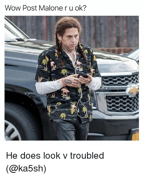 Funny, Post Malone, and Wow: Wow Post Malone r u ok? He does look v troubled (@ka5sh)