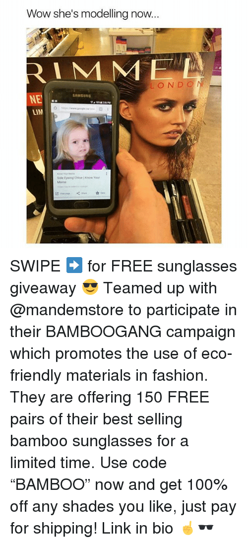 """lims: Wow she's modelling now  LOND O  NE  LIM  SAMSUNG SWIPE ➡️ for FREE sunglasses giveaway 😎 Teamed up with @mandemstore to participate in their BAMBOOGANG campaign which promotes the use of eco-friendly materials in fashion. They are offering 150 FREE pairs of their best selling bamboo sunglasses for a limited time. Use code """"BAMBOO"""" now and get 100% off any shades you like, just pay for shipping! Link in bio ☝🕶"""