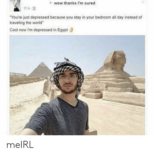 """Egypt: wow thanks i'm cured  11 h  """"You're just depressed because you stay in your bedroom all day instead of  traveling the world""""  Cool now I'm depressed in Egypt meIRL"""