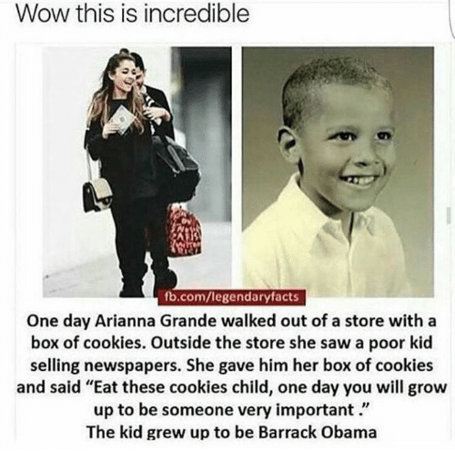 """memes: Wow this is incredible  fb.com/legendary facts  One day Arianna Grande walked out of a store with a  box of cookies. Outside the store she saw a poor kid  selling newspapers. She gave him her box of cookies  and said """"Eat these cookies child, one day you will grow  up to be someone very important  The kid grew up to be Barrack Obama"""