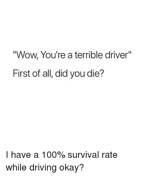 "Anaconda, Driving, and Wow: Wow, You're a terrible driver'""  First of all, did you die? I have a 100% survival rate while driving okay?"