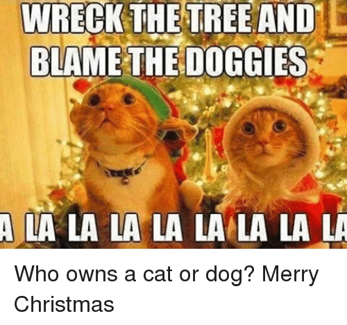 Memes, Trees, and 🤖: WRECK THE TREE AND  BLAME THE DOGGIES  A LA LA LA LA LA LA LA LA Who owns a cat or dog? Merry Christmas