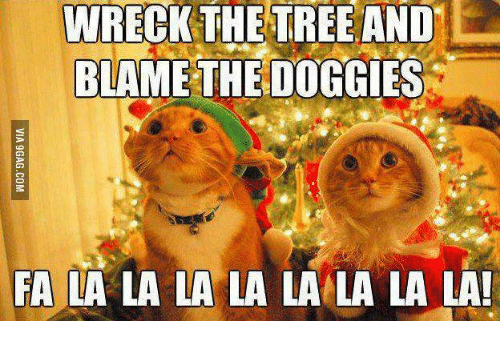 Memes, Tree, and Trees: WRECK THE TREE AND  BLAME THE DOGGIES  FA LA LA LA LA LA LA LA LA!