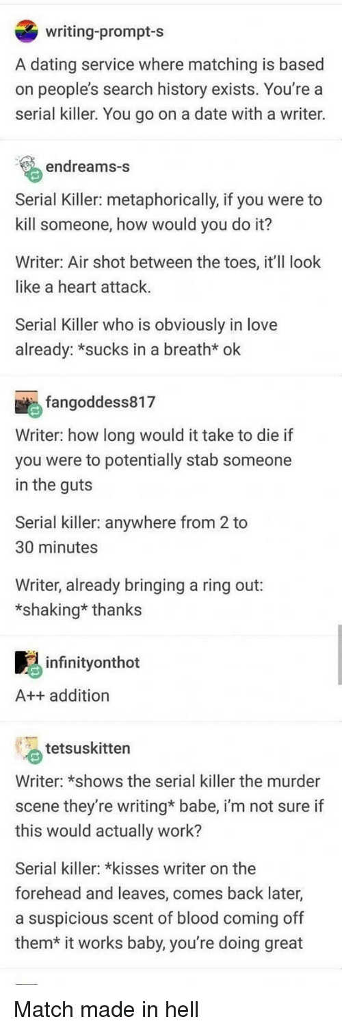 metaphorically: writing-prompt-s  A dating service where matching is based  on people's search history exists. You're a  serial killer. You go on a date with a writer.  endreams-s  Serial Killer: metaphorically, if you were to  kill someone, how would you do it?  Writer: Air shot between the toes, it'll look  like a heart attack.  Serial Killer who is obviously in love  already: *sucks in a breath* ok  fangoddess817  Writer: how long would it take to die if  you were to potentially stab someone  in the guts  Serial killer: anywhere from 2 to  30 minutes  Writer, already bringing a ring out:  *shaking* thanks  infinityonthot  A++ addition  tetsuskitten  Writer: *shows the serial killer the murder  scene they're writing* babe, i'm not sure if  this would actually work?  Serial killer: *kisses writer on the  forehead and leaves, comes back later,  a suspicious scent of blood coming off  them*  it works baby, you're doing great Match made in hell