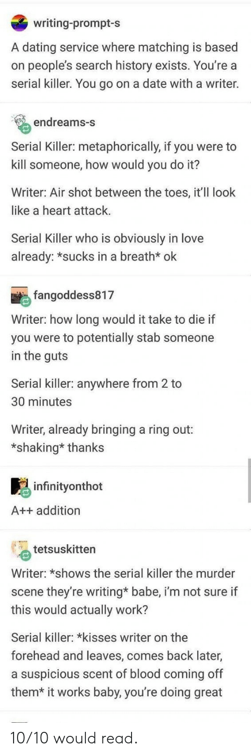 metaphorically: writing-prompt-s  A dating service where matching is based  on people's search history exists. You're a  serial killer. You go on a date with a writer.  endreams-S  Serial Killer: metaphorically, if you were to  kill someone, how would you do it?  Writer: Air shot between the toes, it'll look  like a heart attack  Serial Killer who is obviously in love  already: *sucks in a breath* ok  fangoddess817  Writer: how long would it take to die if  you were to potentially stab someone  in the guts  Serial killer: anywhere from 2 to  30 minutes  Writer, already bringing a ring out:  *shaking* thanks  infinityonthot  A++ addition  tetsuskitten  Writer: *shows the serial killer the murder  scene they're writing* babe, i'm not sure if  this would actually work?  Serial killer: *kisses writer on the  forehead and leaves, comes back later,  a suspicious scent of blood coming off  them*  it works baby, you're doing great 10/10 would read.