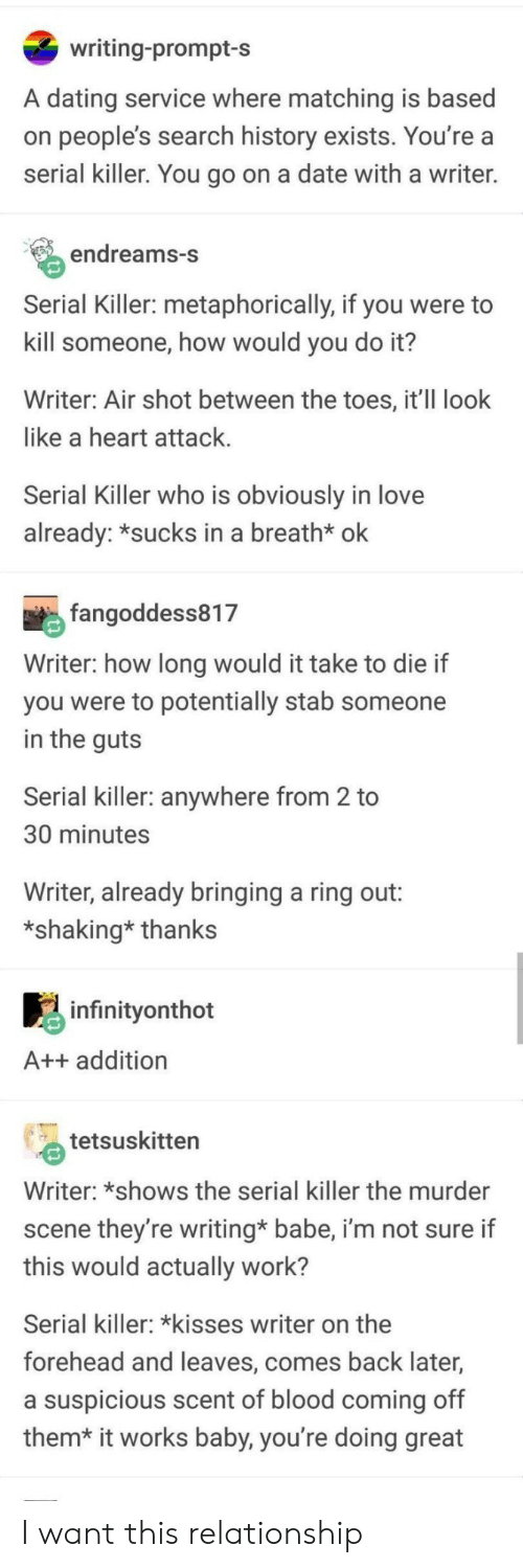metaphorically: writing-prompt-s  A dating service where matching is based  on people's search history exists. You're a  serial killer. You go on a date with a writer.  endreams-S  Serial Killer: metaphorically, if you were to  kill someone, how would you do it?  Writer: Air shot between the toes, it'II look  like a heart attack  Serial Killer who is obviously in love  already: *sucks in a breath* ok  fangoddess817  Writer: how long would it take to die if  you were to potentially stab someone  in the quts  Serial killer: anywhere from 2 to  30 minutes  Writer, already bringing a ring out:  *shaking* thanks  infinitvonthot  A++ addition  tetsuskitten  Writer: *shows the serial killer the murder  scene they're writing* babe, i'm not sure if  this would actually work?  Serial killer: kisses writer on the  forehead and leaves, comes back later,  a suspicious scent of blood coming off  them* it works baby, you're doing great I want this relationship
