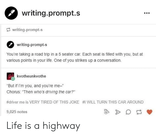 "Chorus: writing.prompt.s  writing-prompt-s  writing-prompt-s  You're taking a road trip in a 5 seater car. Each seat is filled with you, but at  various points in your life. One of you strikes up a conversation.  kvotheunkvothe  But if I'm you, and you're me-""  Chorus: ""Then who's driving the car?""  #driver me is VERY TIRED OF THIS JOKE #1 WILL TURN THIS CAR AROUND  9,025 notes  2 Life is a highway"