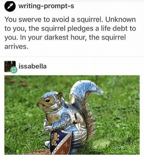 avoidance: writing-prompt-S  You swerve to avoid a squirrel. Unknown  to you, the squirrel pledges a life debt to  you. In your darkest hour, the squirrel  arrives.  issabella
