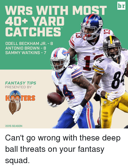 Odell Beckham Jr., Sports, and Squad: WRS WITH MOST  40+ YARD  CATCHES  ODELL BECKHAM JR. 8  ANTONIO BROWN 8  ATM  SAMMY WATKINS 7  FANTASY TIPS  PRESENTED BY  2015 SEASON  br Can't go wrong with these deep ball threats on your fantasy squad.