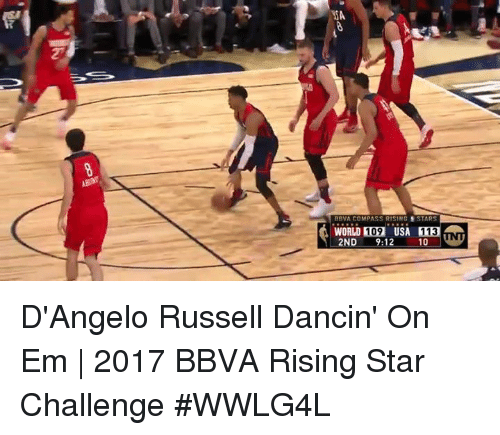 Memes, Star, and Stars: WSA  BBVA COMPASS RISING S STARS  WORLD 109 USA  113  2ND  9:12  10 VNU D'Angelo Russell Dancin' On Em | 2017 BBVA Rising Star Challenge  #WWLG4L
