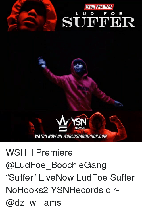 "Memes, Worldstarhiphop, and Wshh: WSHH PREMIERE  L U D F O E  SUFFER  WYSN  RECORDS  WATCH NOW ON WORLDSTARHIPHOP.COM WSHH Premiere @LudFoe_BoochieGang ""Suffer"" LiveNow LudFoe Suffer NoHooks2 YSNRecords dir- @dz_williams"