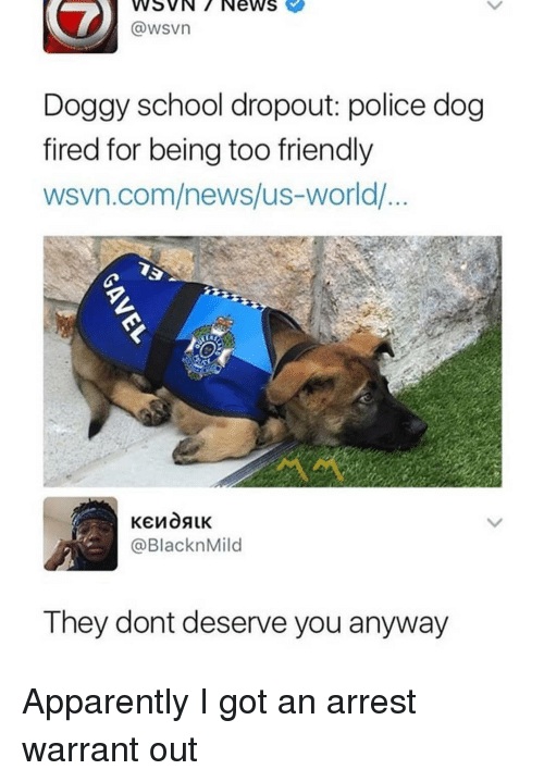 Wsvn: WSVN7 News  @wsvn  Dogay school dropout: police dog  fired for being too friendly  wsvn.com/news/us-world/  @BlacknMild  They dont deserve you anyway Apparently I got an arrest warrant out