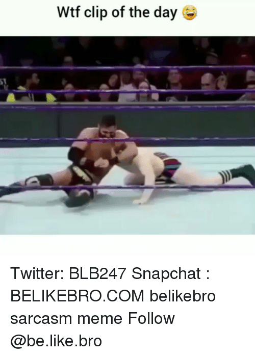 Be Like, Meme, and Memes: Wtf clip of the day Twitter: BLB247 Snapchat : BELIKEBRO.COM belikebro sarcasm meme Follow @be.like.bro
