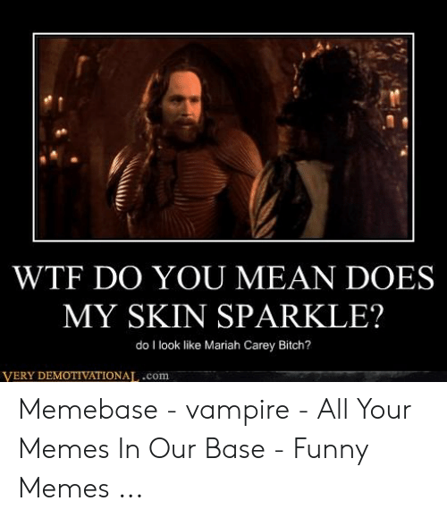 Funny Vampire Memes: WTF DO YOU MEAN DOES  MY SKIN SPARKLE?  do I look like Mariah Carey Bitch?  VERY DEMOTIVATIONAT,.com Memebase - vampire - All Your Memes In Our Base - Funny Memes ...