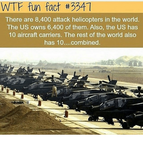 wtf fun fact: WTF fun fact #3341  There are 8,400 attack helicopters in the world.  The US owns 6,400 of them. Also, the US has  10 aircraft carriers. The rest of the world also  has 10....combined