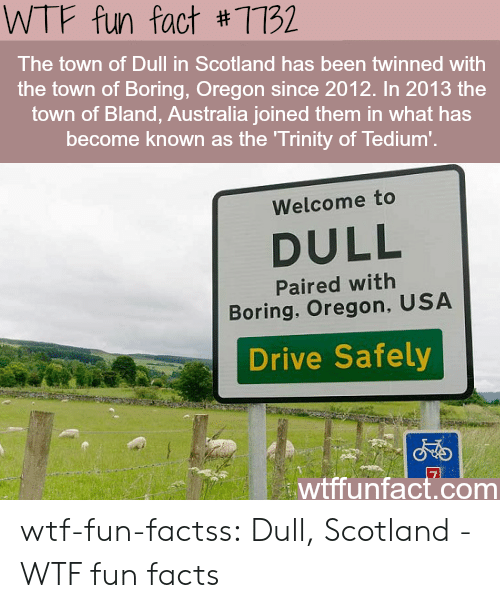 wtf fun facts: WTF fun fact #7732  The town of Dull in Scotland has been twinned with  the town of Boring, Oregon since 2012. In 2013 the  town of Bland, Australia joined them in what has  become known as the Trinity of Tedium'.  Welcome to  DULL  Paired with  Boring, Oregon, USA  Drive Safely  wtffunfact.com wtf-fun-factss:  Dull, Scotland - WTF fun facts