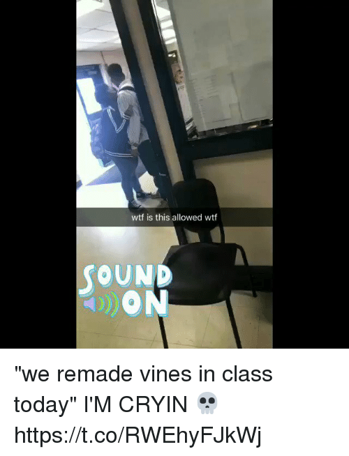"""Wtf, Today, and Vines: wtf is this allowed wtf  OUND """"we remade vines in class today"""" I'M CRYIN 💀 https://t.co/RWEhyFJkWj"""