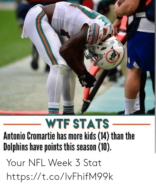 Stats: WTF STATS  Antonio Cromartie has more kids (14) than the  Dolphins have points this season (10) Your NFL Week 3 Stat https://t.co/lvFhifM99k