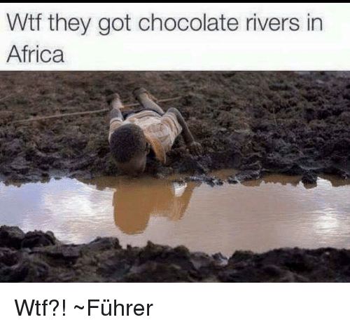 Africa, Wtf, and Chocolate: Wtf they got chocolate rivers in  Africa Wtf?! ~Führer