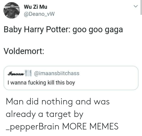 voldemort: Wu Zi Mu  @Deano_vW  Baby Harry Potter: goo goo gaga  Voldemort:  Simaan@imaansbiitchass  I wanna fucking kill this boy Man did nothing and was already a target by _pepperBrain MORE MEMES